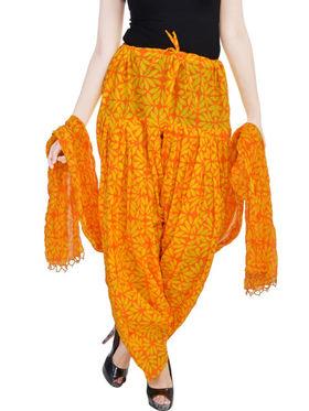 Shop Rajasthan 100% Pure Cotton Floral Print Patiala Salwar - Orange & Yellow - SRI2041