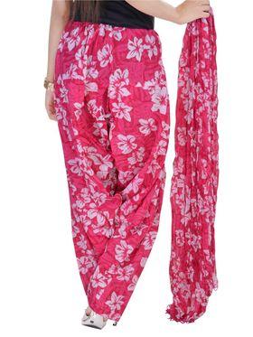 Shop Rajasthan 100% Pure Cotton Floral Print Patiala Salwar - Pink - SRI2082