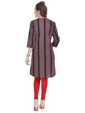 Shop Rajasthan 100% Pure Cotton Printed Kurti - Maroon and Black - SRE2307