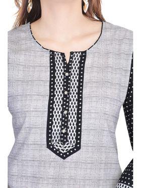 Shop Rajasthan 100% Pure Cotton Printed Kurti - Grey and Black - SRE2327