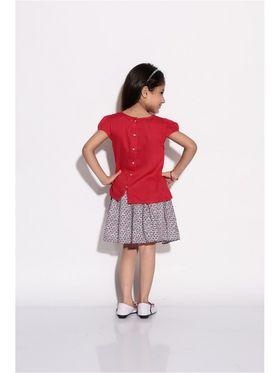 ShopperTree 100% VISCOSE Plain Girls Skirt Set - Red