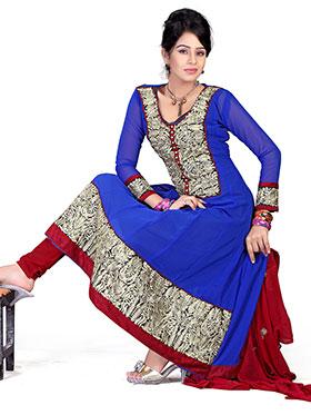 Silkbazar Embroidered Chiffon Anarkali Semi-Stitched Dress Material - Blue