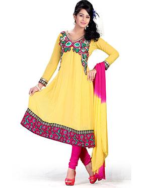 Silkbazar Embroidered Chiffon Anarkali Semi-Stitched Dress Material - Yellow