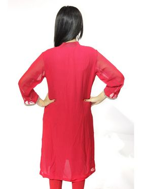 Vivaa Georgette Solid Kurti - Red