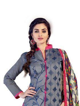 Thankar Semi Stitched  Chanderi Cotton Embroidery Dress Material Tas290-5512