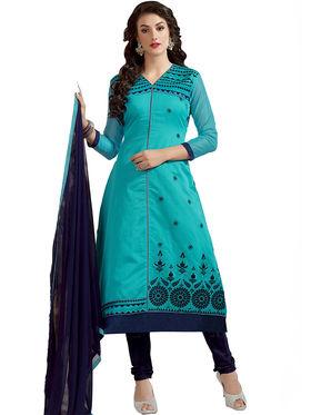 Thankar Embroidered Chanderi Cotton Semi-Stitched Suit -Tas315-6308