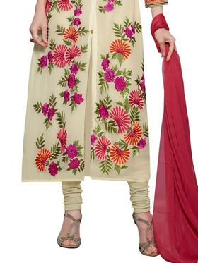 Thankar Embroidered Faux Georgette Semi-Stitched Suit -Tas331-20019