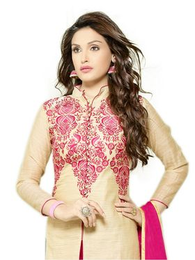 Thankar Embroidered Chanderi Cotton Semi-Stitched Suit -Tas332-3154