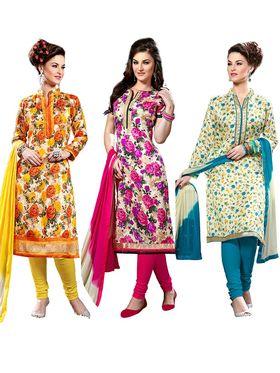 Combo Of 3 Thankar Printed Bhagalpuri Semi Stitched Suit- thk-01