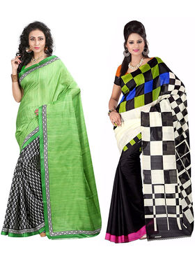 Pack of 2 Thankar Printed Bhagalpuri Saree -Tds137-215.216