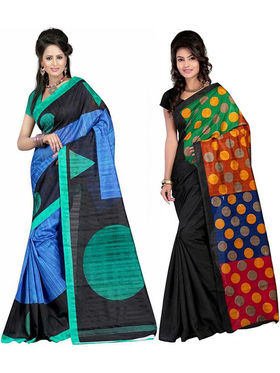 Pack of 2 Thankar Printed Bhagalpuri Saree -Tds137-219.220