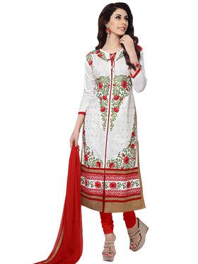 Triveni's Blended Cotton Embroidered Dress Material -TSMDESK1051