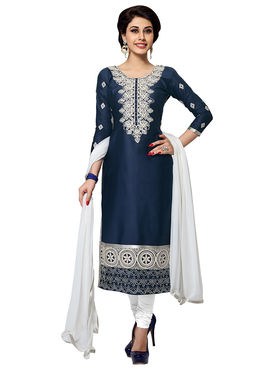 Triveni's Blended Cotton Embroidered Dress Material -TSMDESK1056