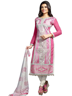 Triveni's Chanderi Cotton Embroidered Dress Material -TSMDESK1103