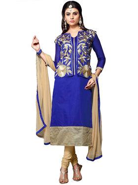 Triveni's Chanderi Cotton Embroidered Dress Material -TSMDESK1110