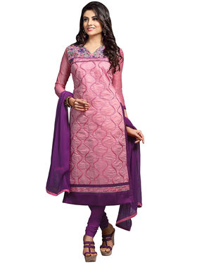 Triveni's Chanderi Cotton Embroidered Dress Material -TSMDESK1111