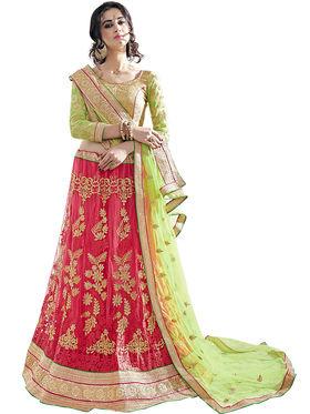 Triveni Embroidered Satin & Net Pink Lehenga Choli-Tsn82013