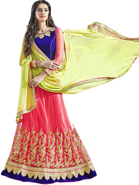 Triveni Embroidered Net & Satin Pink Lehenga Choli-Tsn82018