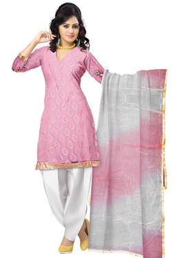 Triveni's Net Brasso Border Work Dress Material -TSSK13032