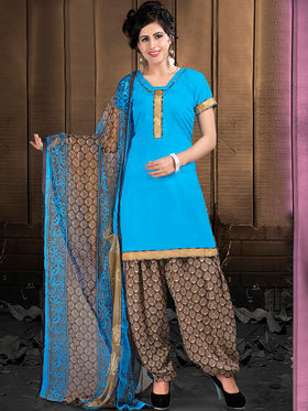Viva N Diva Semi Stitched Cotton Lace Work Embellished UnStiched Suits Tanaz-106