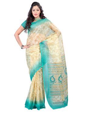 Triveni sarees Supernet Printed Saree - Cream - TSKCRN12806C