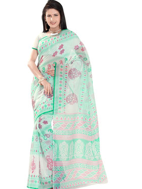 Triveni Blended Cotton Printed Saree - Green - TSMRCCAK1050