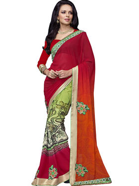Triveni Faux Georgette Printed Saree - Multicolor - TSN71022