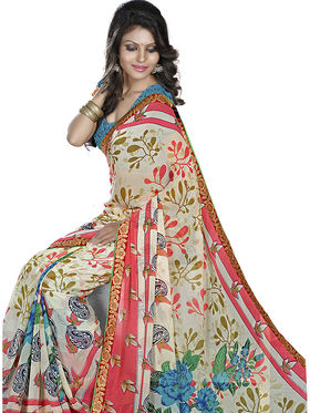 Triveni Faux Georegette Printed Saree - Cream - TSN78012A