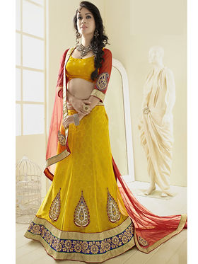Triveni Jacquard - Net Embroidered Lehenga Choli - Yellow and Brown -TSN82006