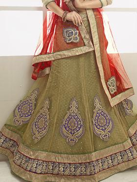 Triveni Jacquard - Net Embroidered Lehenga Choli - Blue and Green -TSN82012