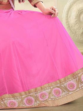 Triveni Satin - Net Embroidered Lehenga Choli - Brown and Pink -TSSURG2006