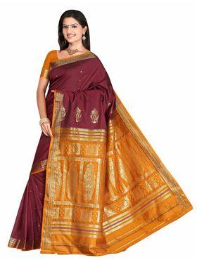 Triveni sarees Art Silk Printed Saree - Magenta - TSMRAS2001