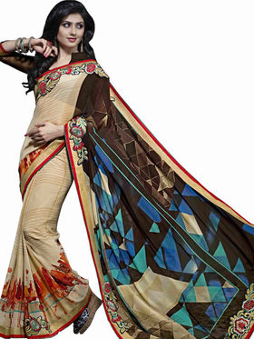 Triveni sarees Faux Georgette Embroidered Saree - Beige - TSN64020A