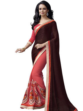 Triveni sarees Faux Georgette and Chiffon Embroidered Saree - Multicolor