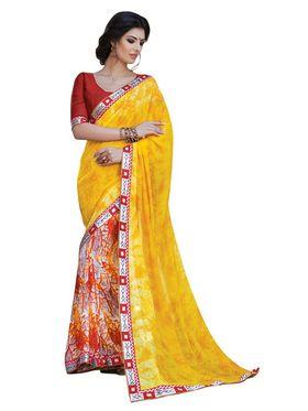 Triveni sarees Faux Georgette Printed Saree - Multicolor - TSPP1848