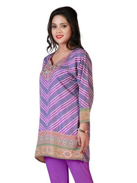 Variation Faux Crepe Printed Kurti - Purple - VD15139