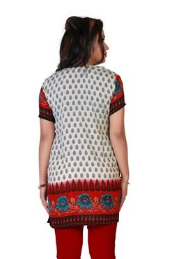 Variation Faux Crepe Printed Kurti - Multicolor - VD15142