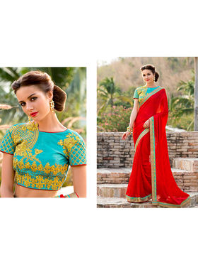 Nanda Silk Mills Embroidered Red Saree_VR-2204
