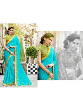 Nanda Silk Mills Embroidered Blue  Saree_VR-2209