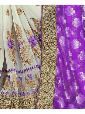 Khushali Fashion Embroidered Georgette Half & Half Saree_KF12