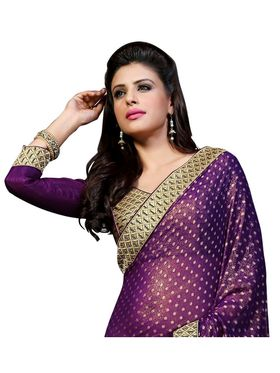 Khushali Fashion Embroidered Georgette Half & Half Saree_KF20