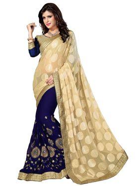 Khushali Fashion Embroidered Georgette Half & Half Saree_KF24