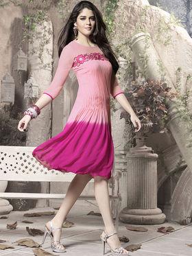 Viva N Diva 60 Gm Georgette Embroidered Kurti - Pink - 1005