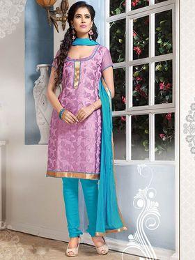 Viva N Diva Chanderi Cotton Embroidered Dress Material - Light Purple