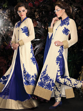 Viva N Diva Embroidered 2 in 1 Lehenga cum Salwar Suit - Off White - Aarvi-406