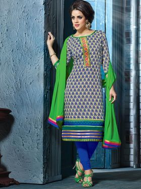 Viva N Diva Chanderi Silk Printed Suit with a pair of Plazzo & Legging - Beige & Blue