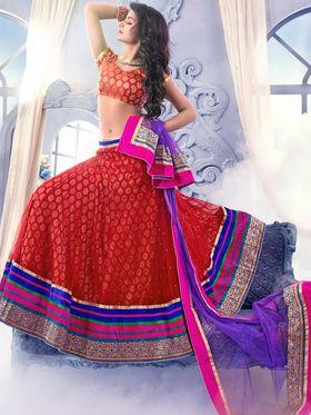 Viva N Diva Soft Net Embroidered Lehenga - Red