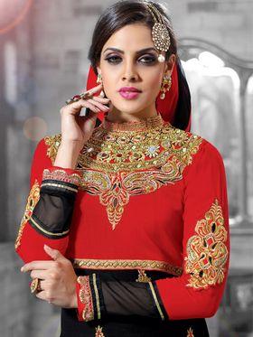 Viva N Diva Georgette Embroidered Dress Material - Red & Black