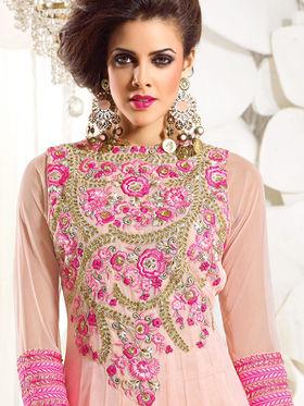 Viva N Diva Semi Georgette Embroidered Dress Material - Light Dusty Pink