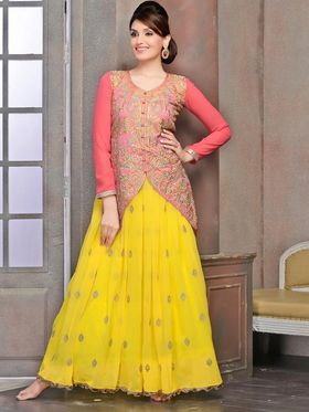 Viva N Diva Georgette Embroidered Dress Material - Yellow & Peach